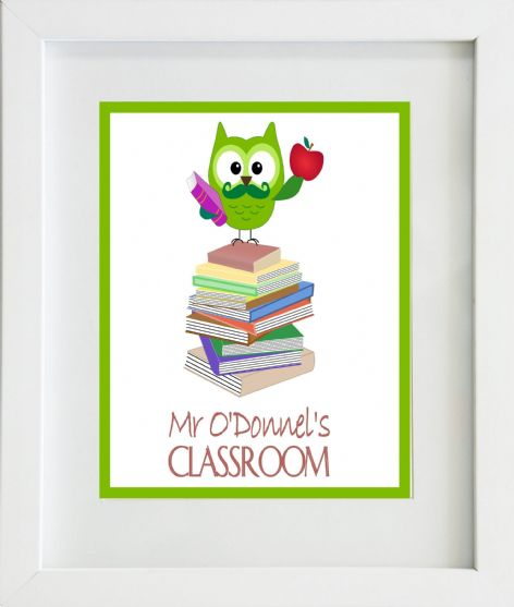 Thank You Teacher Male Owl Teacher Classroom Print
